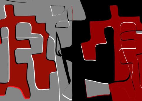 Pristowscheg.Nivuro precolombino.Perspectivas cromáticas.Abstract Art.Digital Art.Psicopompos mirando sombras. 76x106 cm | 30x42 in