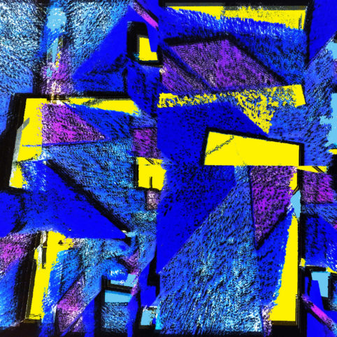 Pristowscheg.The Blue Suite.Perspectivas cromáticas.Abstract Art.Digital Art.The Blue Totem. 91x91 cm | 36x36 in