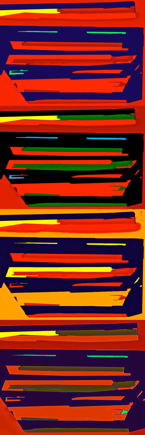 Pristowscheg.Busillis.Perspectivas cromáticas.Abstract Art. Digital Art.Striat #2. 120x40 cm | 47,25x15,75 in